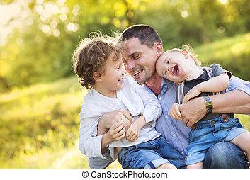papá, niños, poco, su