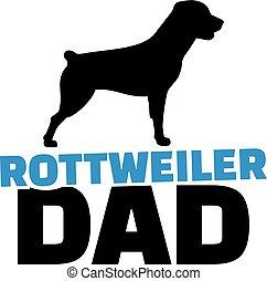 papá, rottweiler, silueta, perro