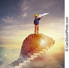 papéis, escada, prestigious, livros, aspire, escalando