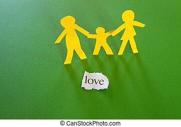 papír cutouts, közül, szülők, és, gyermek