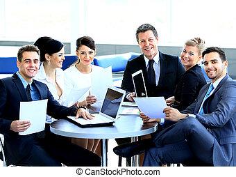 papírování, povolání, sedění, discussing, deska, mužstvo, během, setkání