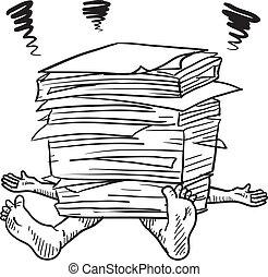 papírování, stres, skica