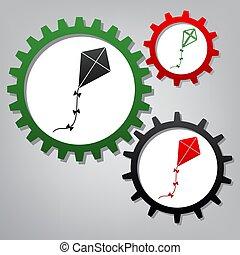 papírsárkány, ikonok, cégtábla., grayish, három, összekapcsolt, fogaskerék-áttétel, vector.