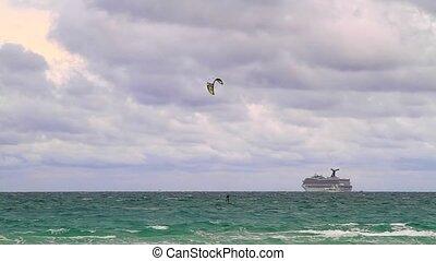 papírsárkány, képben látható, szeles, napok, alatt, miami tengerpart