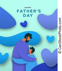 papa, étreinte, pères, fils, papier, coupure, bannière, jour