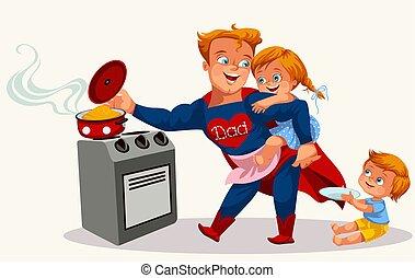 papa, affiche, superhero, coloré