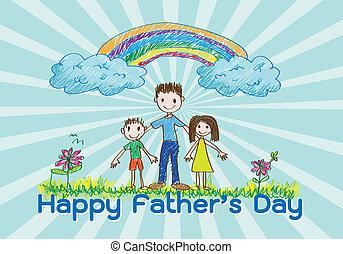 papa, amour, heureux, jour, père