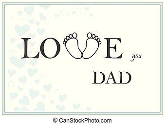 papa, amour, salutation, illustration, vecteur, vert, vous, horizontal, carte