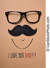 papa, amour, texte, figure, vous, homme