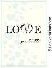 papa, amour, vertical, salutation, illustration, vecteur, vert, vous, carte