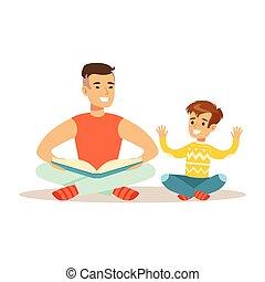 papa, apprécier, livre, père, fils, aimer, bon, lecture, gosse, temps, papa, qualité, heureux