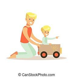 papa, apprécier, voiture, père, fils, jouer, bon, gosse, temps, aimer, papa, qualité, carton, heureux