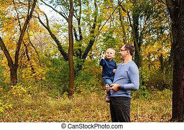 papa, automne, parc, fils