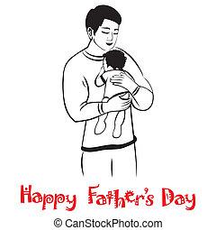 papa, bébé, étreinte, agréable