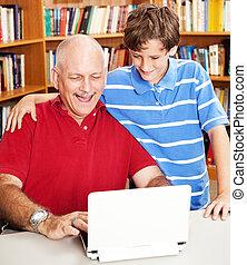 papa, -, bibliothèque, calculer