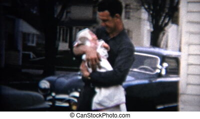 papa, c, vintage), tient, (8mm, 1952, bébé