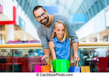 papa, centre commercial, fille