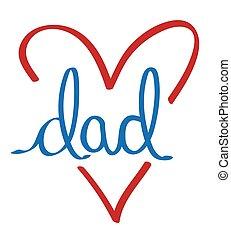 papa, coeur, amour
