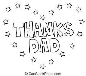 papa, coeur, coloration, remerciement, page