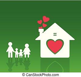 papa, coeur, fond, famille, terrestre, maman, brouillé, garçons, girls., vert, stand, tenant mains, maison, heureux