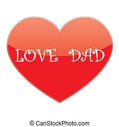 papa, coeur, vecteur, amour