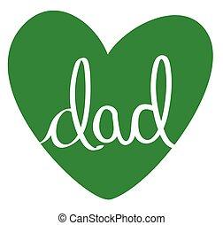 papa, coeur, vert