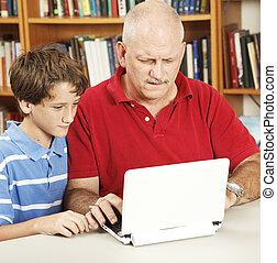 papa, confondu, devoirs, aides