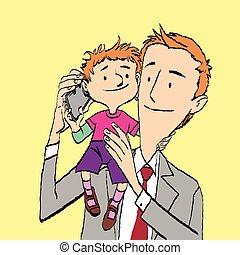papa, conversation, smartphone, fils