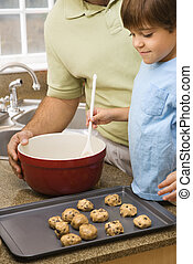 papa, cookies., fils, confection