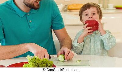 papa, cuisine, ensemble, fils