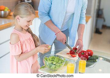 papa, cuisine, fille