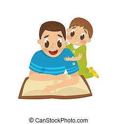 papa, développement, peu, concept, famille, fils, vecteur, tôt, sien, illustration, fond, blanc, livre lecture