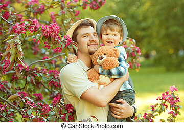 papa, day., jeu, père, promenade, père, park., enfant, outdoors., fils