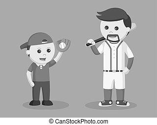 papa, demander, base-ball, jouer, fils