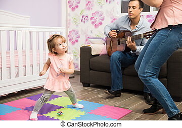 papa, elle, danse, maman, girl, heureux