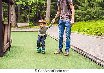 papa, enseigne, parc, rollerblade, fils