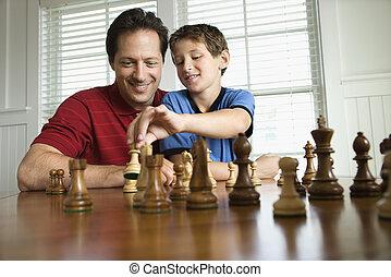 papa, enseignement, échecs, son.