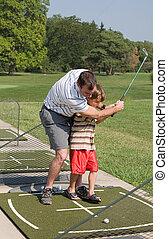 papa, enseignement, golf, fils