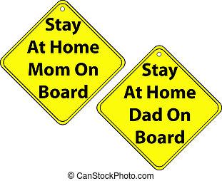 papa, ensemble, séjour, maman, signes, maison