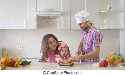 papa, famille, cuisine, coupures, cake., heureux