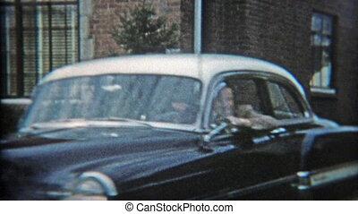 papa, fermé, 1953:, projection, voiture, nouveau