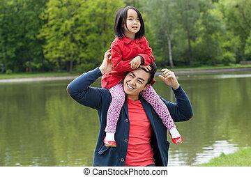papa, fille, asiatique