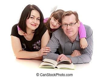 papa, fille, famille, livre, maman, lecture, fl, mensonge, heureux