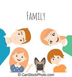 papa, fille, fils, illustration, vecteur, maman, family:, heureux