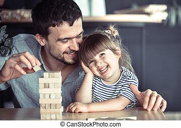 papa, fille, sien, jeux