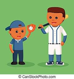papa, fils, demander, base-ball, africaine, jouer