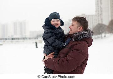 papa, fils, hiver, promenade