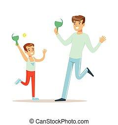 papa, garçon, bon, coloré, tennis, ensemble, fils, caractères, calendrier, sourire, jouer, avoir, homme