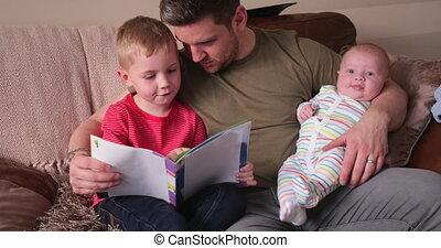 papa, garçon, peu, sien, lecture