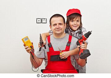 papa, garçon, sien, fonctionnement, -, père, portion, heureux